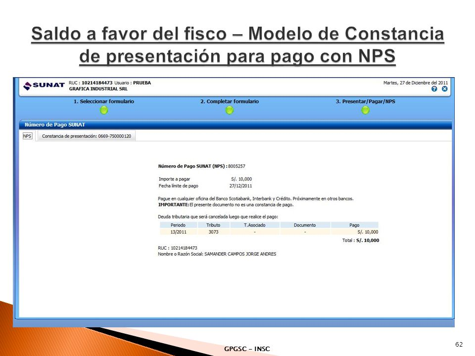 Saldo a favor del fisco – Modelo de Constancia de presentación para pago con NPS