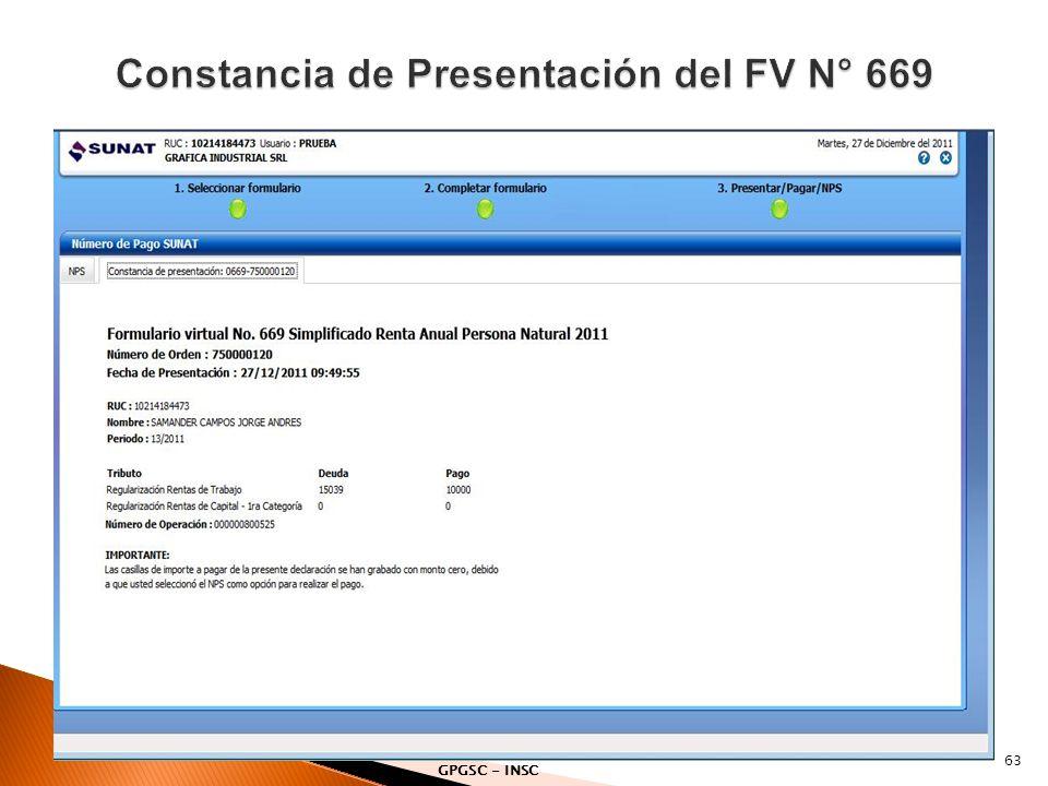 Constancia de Presentación del FV N° 669