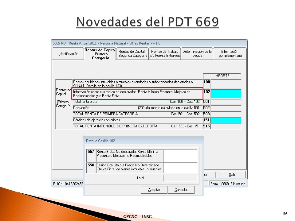 Novedades del PDT 669 GPGSC - INSC