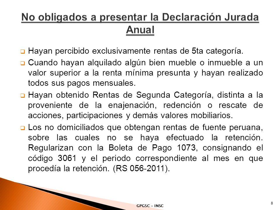 No obligados a presentar la Declaración Jurada Anual