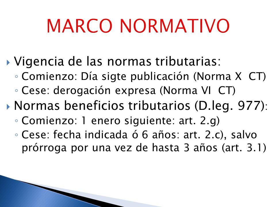 MARCO NORMATIVO Vigencia de las normas tributarias:
