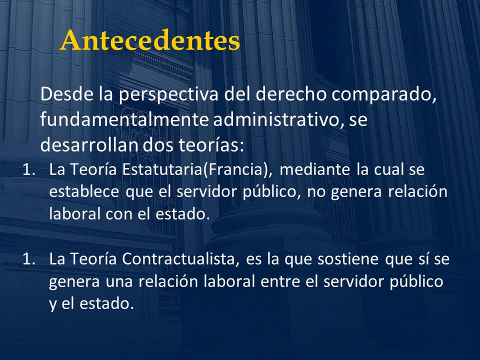 Antecedentes Desde la perspectiva del derecho comparado, fundamentalmente administrativo, se desarrollan dos teorías: