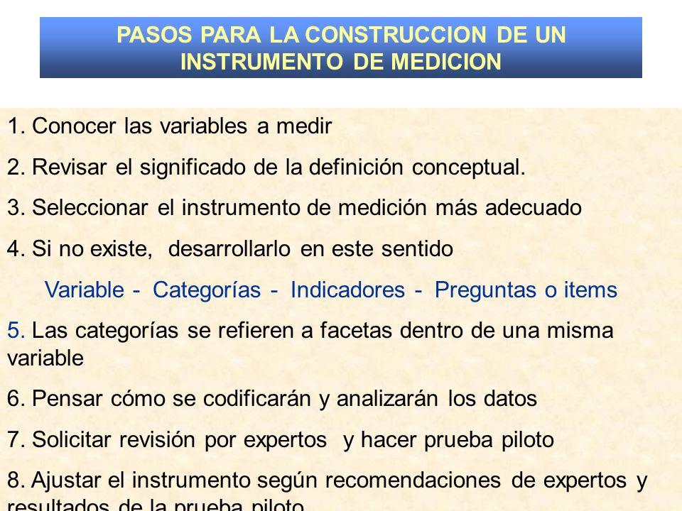 PASOS PARA LA CONSTRUCCION DE UN INSTRUMENTO DE MEDICION