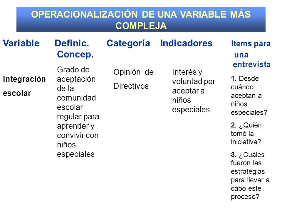 OPERACIONALIZACIÓN DE UNA VARIABLE MÁS COMPLEJA