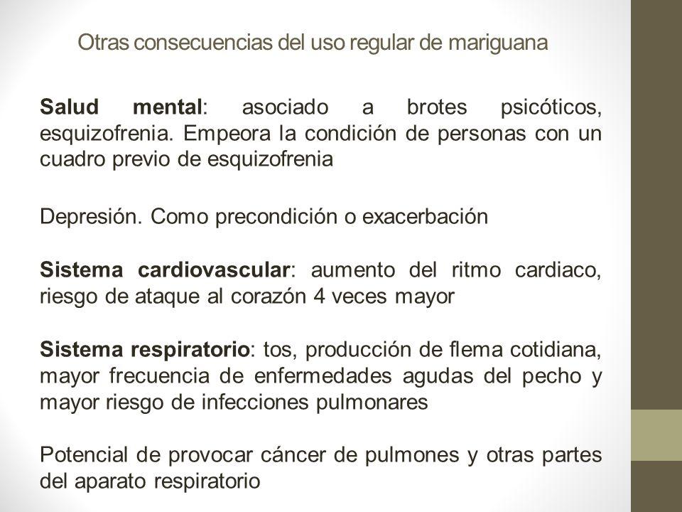 Otras consecuencias del uso regular de mariguana