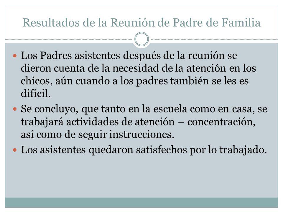 Resultados de la Reunión de Padre de Familia