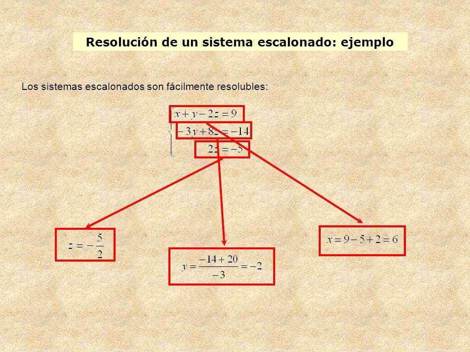 Resolución de un sistema escalonado: ejemplo