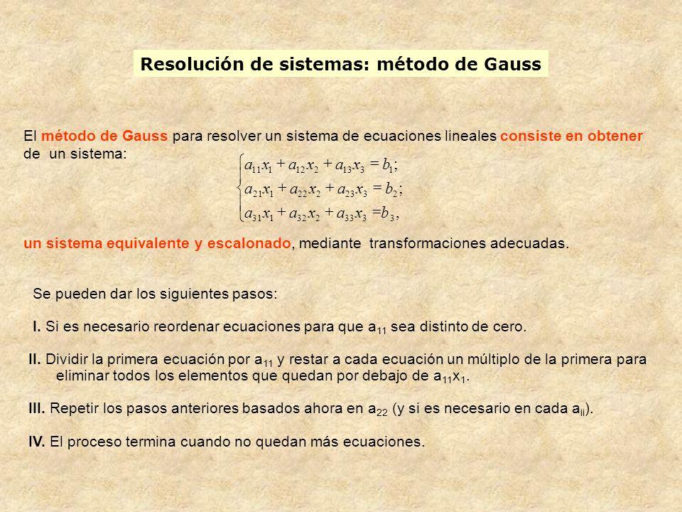 Resolución de sistemas: método de Gauss