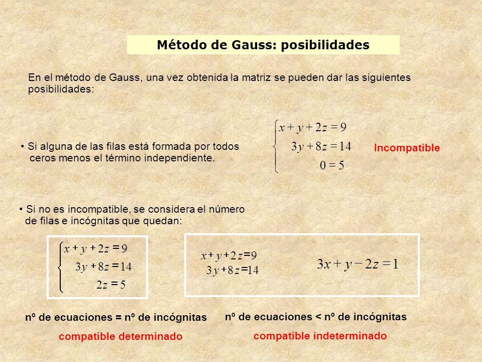 Método de Gauss: posibilidades