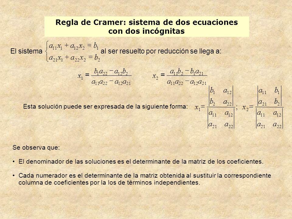Regla de Cramer: sistema de dos ecuaciones con dos incógnitas