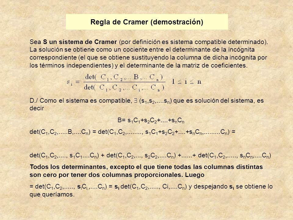 Regla de Cramer (demostración)