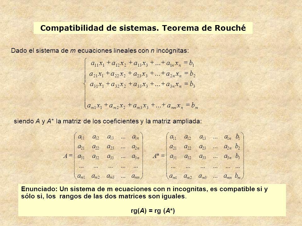 Compatibilidad de sistemas. Teorema de Rouché