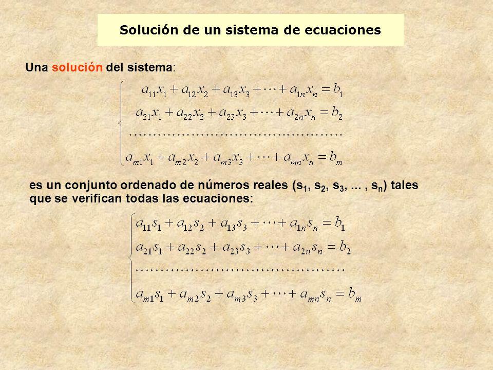 Solución de un sistema de ecuaciones