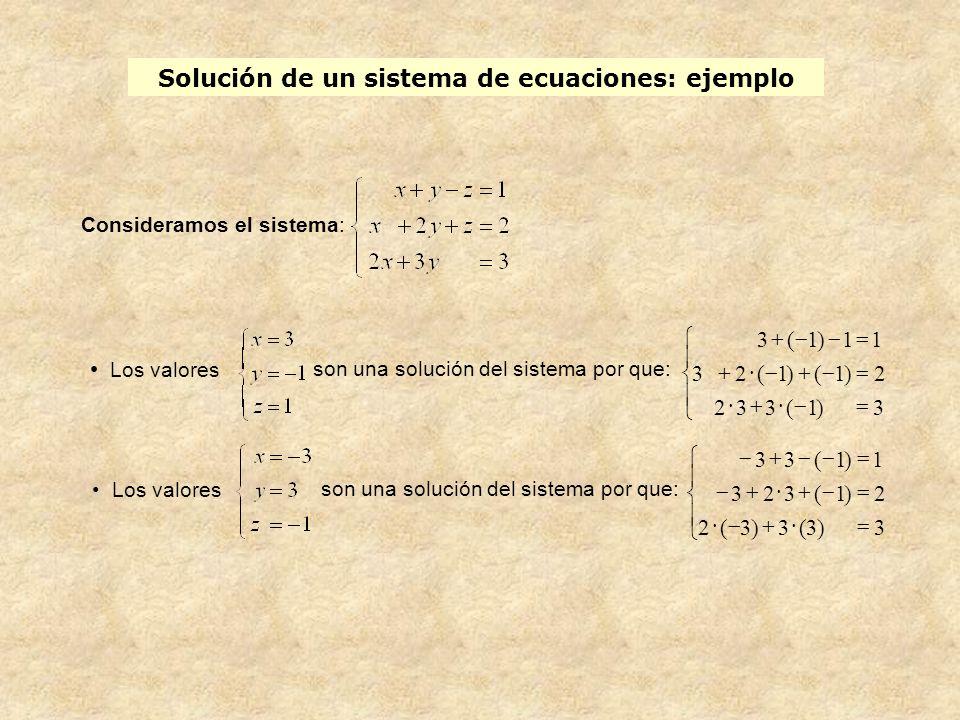 Solución de un sistema de ecuaciones: ejemplo