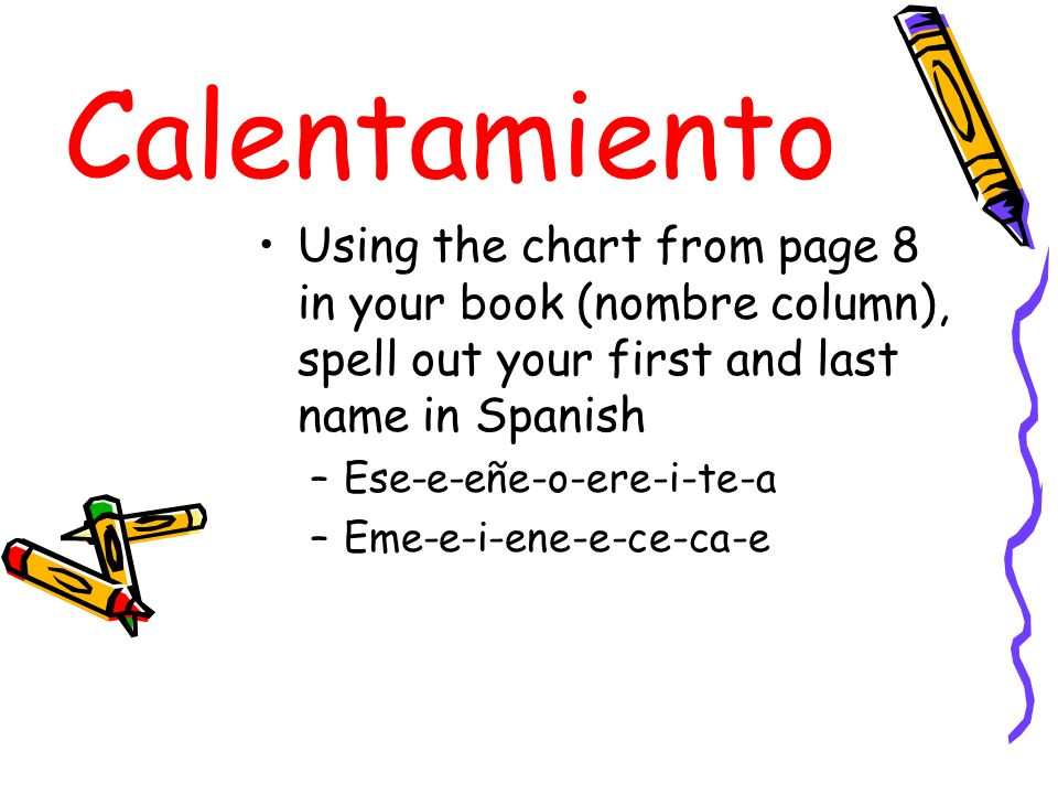 Calentamiento Using the chart from page 8 in your book (nombre column), spell out your first and last name in Spanish.