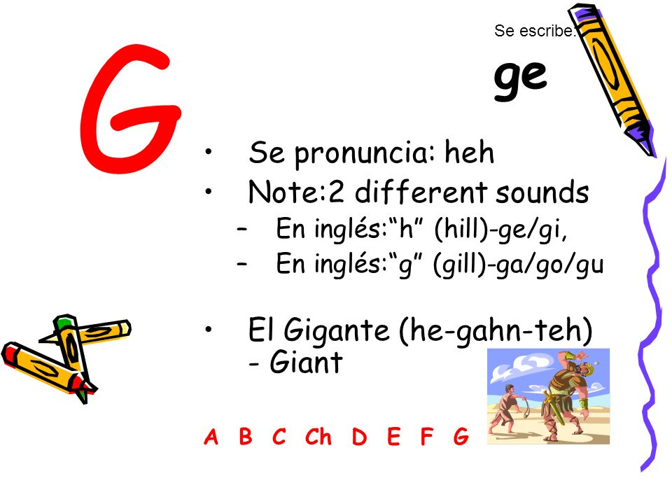 G Se pronuncia: heh Note:2 different sounds