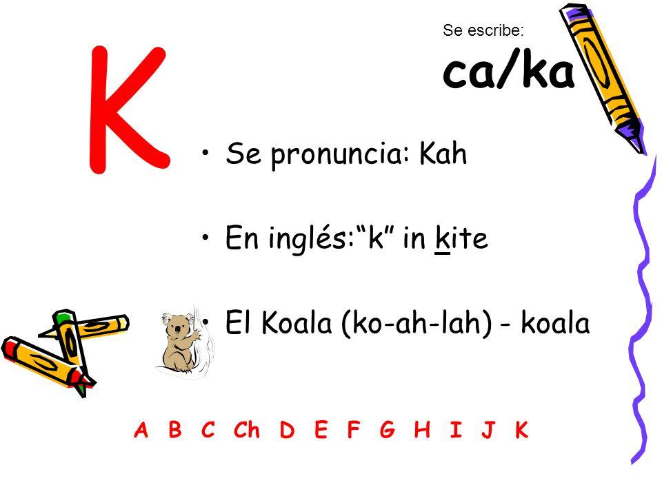 K Se pronuncia: Kah En inglés: k in kite El Koala (ko-ah-lah) - koala