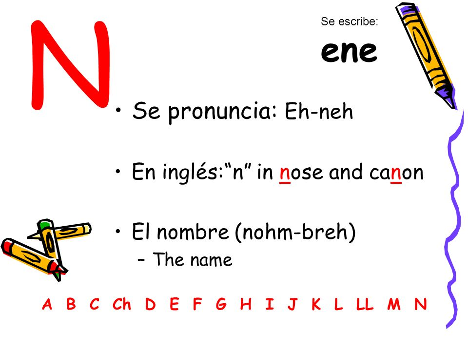 N Se pronuncia: Eh-neh En inglés: n in nose and canon