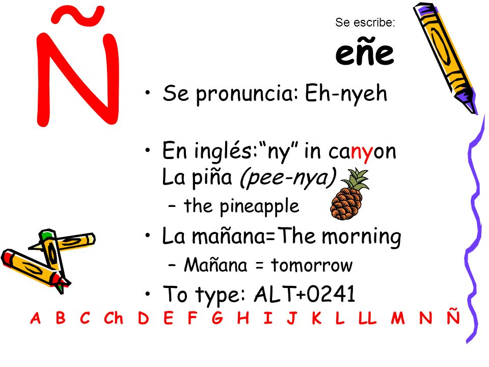 Ñ Se pronuncia: Eh-nyeh En inglés: ny in canyon La piña (pee-nya)