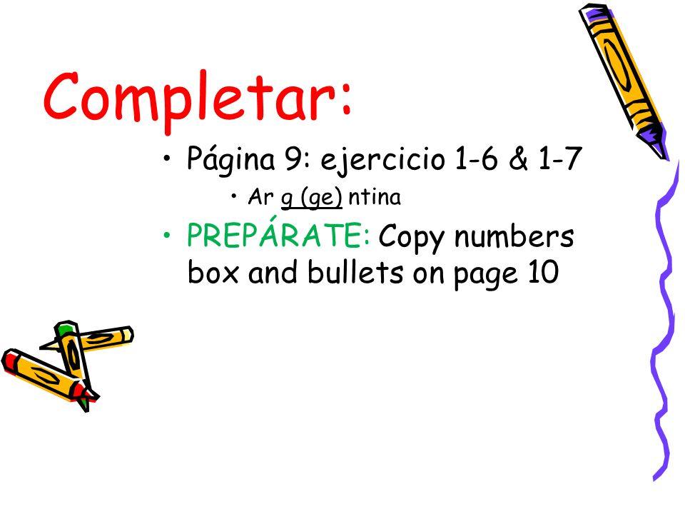 Completar: Página 9: ejercicio 1-6 & 1-7