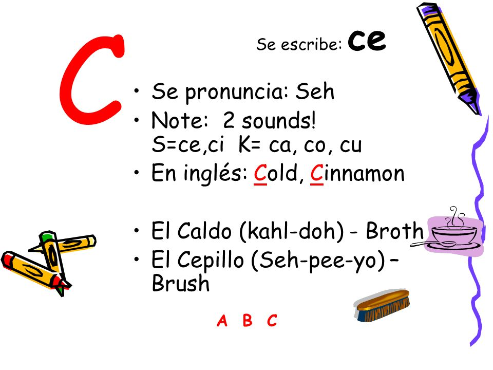 C Se pronuncia: Seh Note: 2 sounds! S=ce,ci K= ca, co, cu