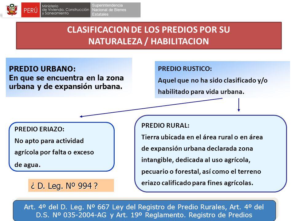 CLASIFICACION DE LOS PREDIOS POR SU NATURALEZA / HABILITACION