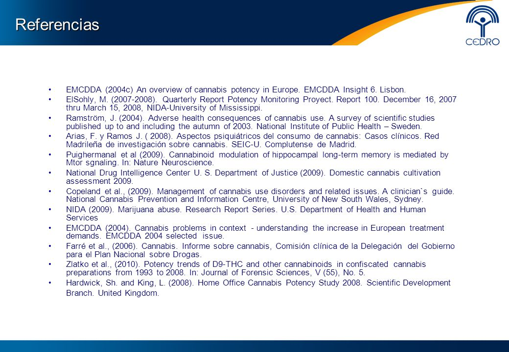 Referencias EMCDDA (2004c) An overview of cannabis potency in Europe. EMCDDA Insight 6. Lisbon.