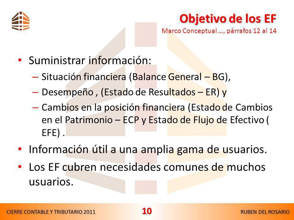 Objetivo de los EF Marco Conceptual …, párrafos 12 al 14
