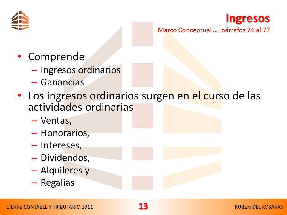 Ingresos Marco Conceptual …, párrafos 74 al 77