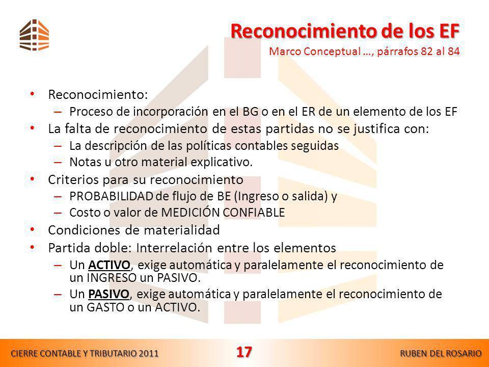 Reconocimiento de los EF Marco Conceptual …, párrafos 82 al 84