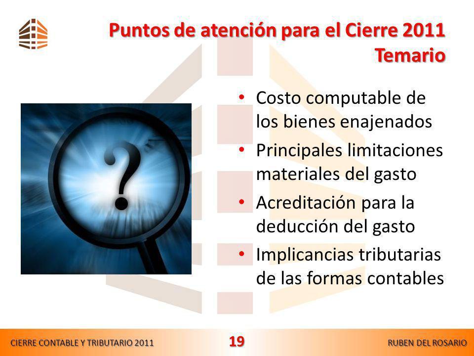 Puntos de atención para el Cierre 2011 Temario