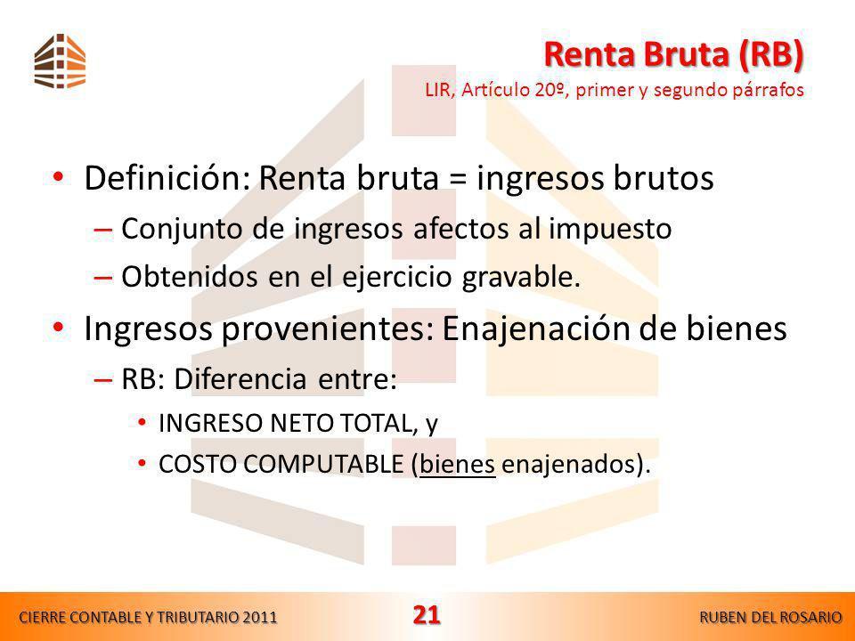 Renta Bruta (RB) LIR, Artículo 20º, primer y segundo párrafos