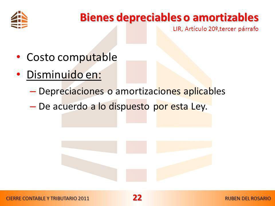 Bienes depreciables o amortizables LIR, Artículo 20º,tercer párrafo