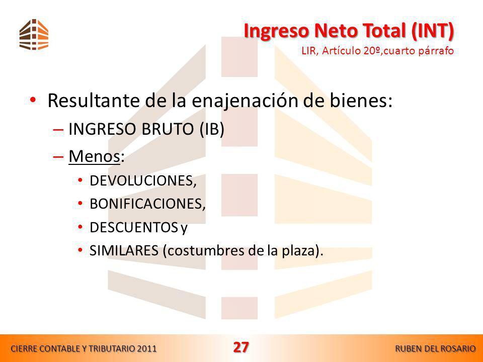 Ingreso Neto Total (INT) LIR, Artículo 20º,cuarto párrafo