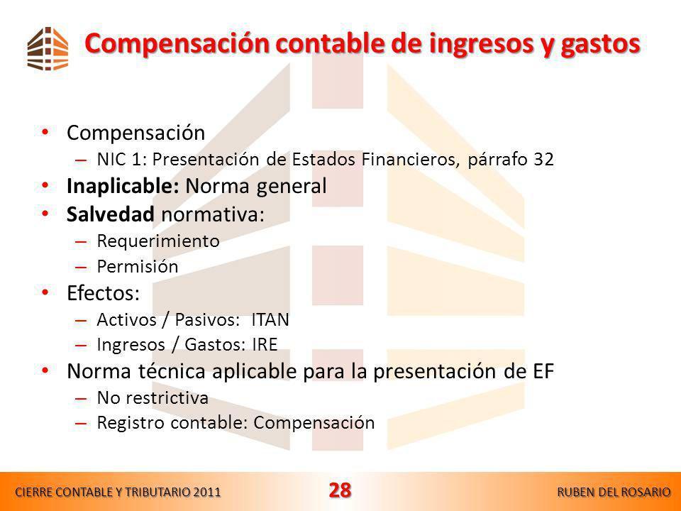 Compensación contable de ingresos y gastos