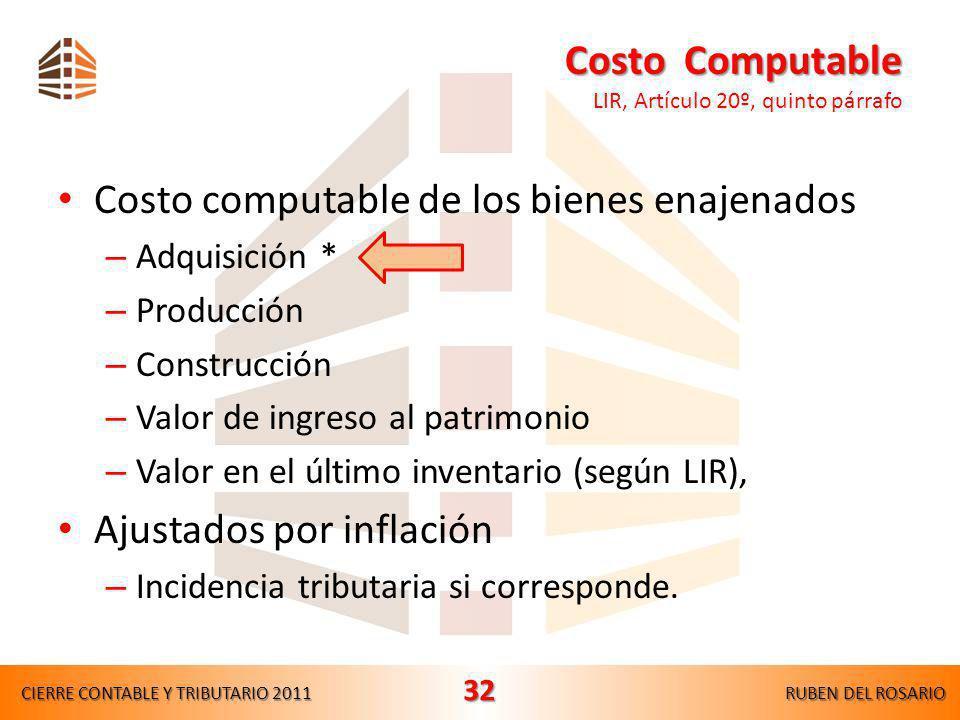 Costo Computable LIR, Artículo 20º, quinto párrafo
