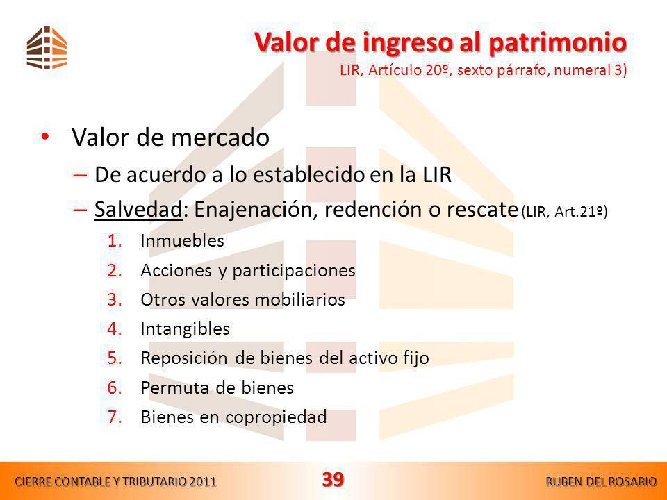 Valor de ingreso al patrimonio LIR, Artículo 20º, sexto párrafo, numeral 3)