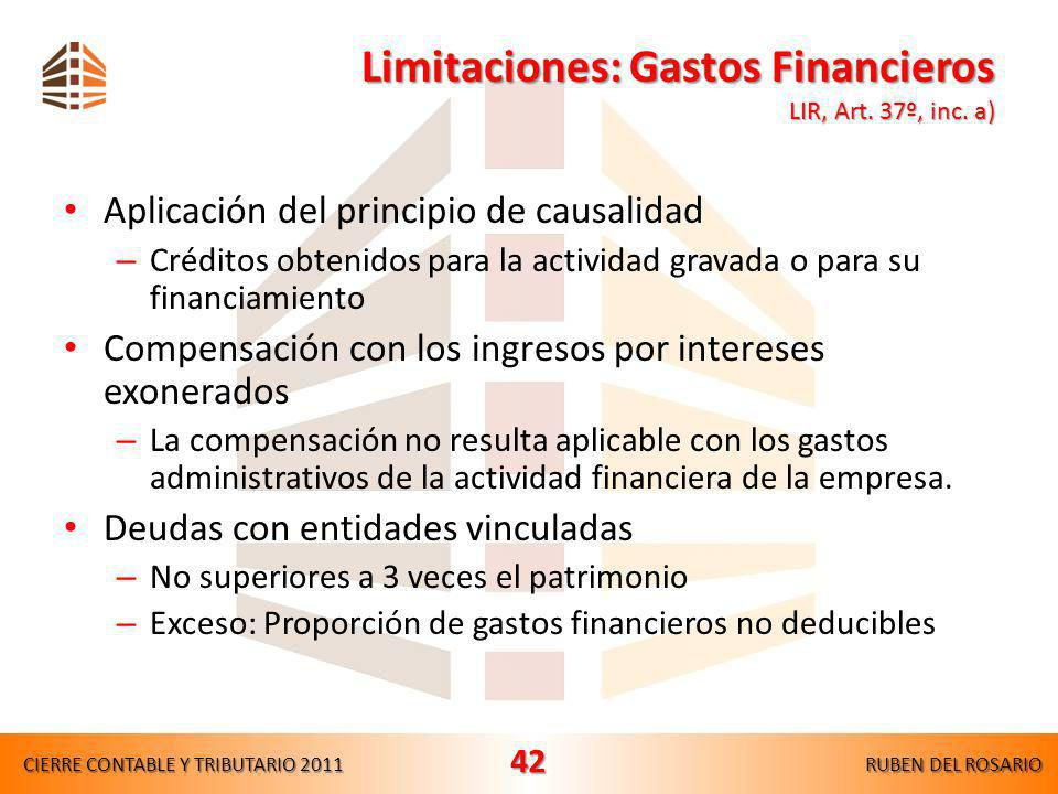 Limitaciones: Gastos Financieros LIR, Art. 37º, inc. a)