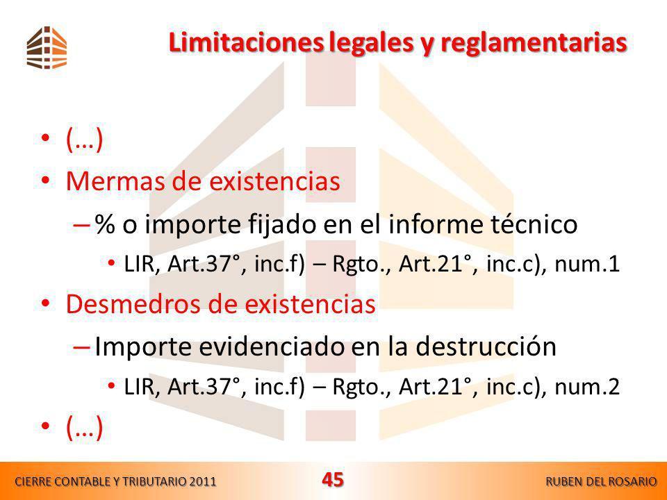 Limitaciones legales y reglamentarias