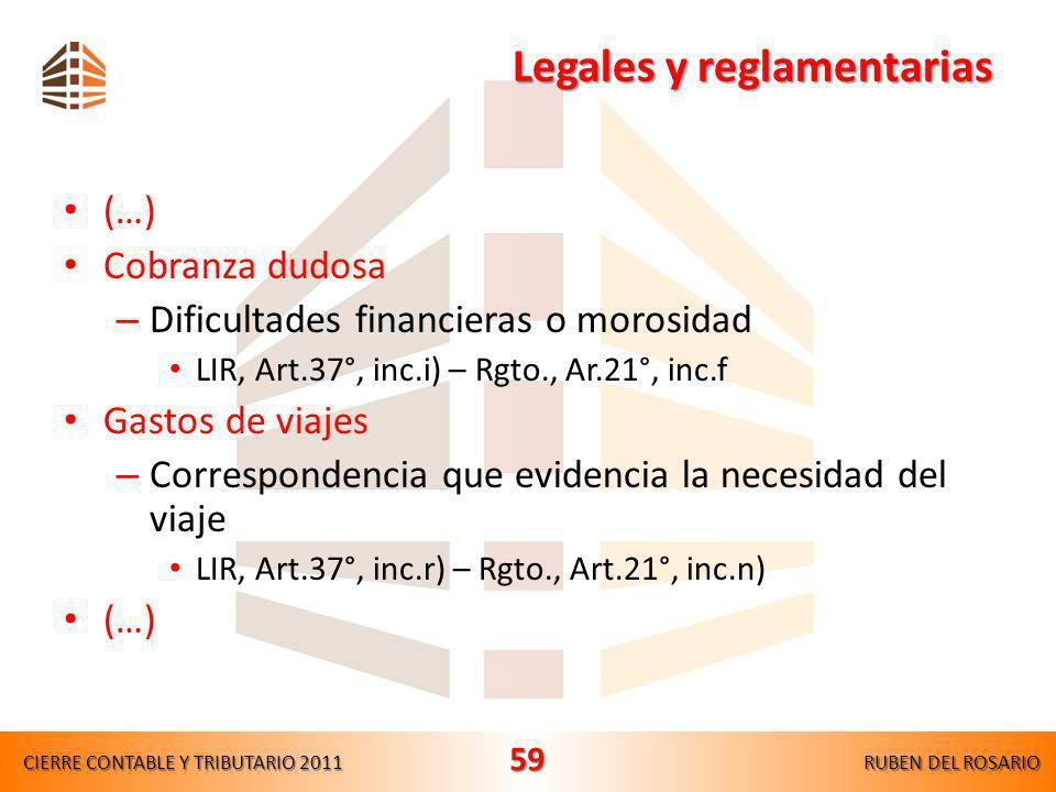 Legales y reglamentarias