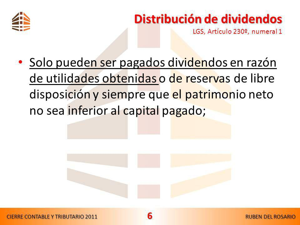Distribución de dividendos LGS, Artículo 230º, numeral 1