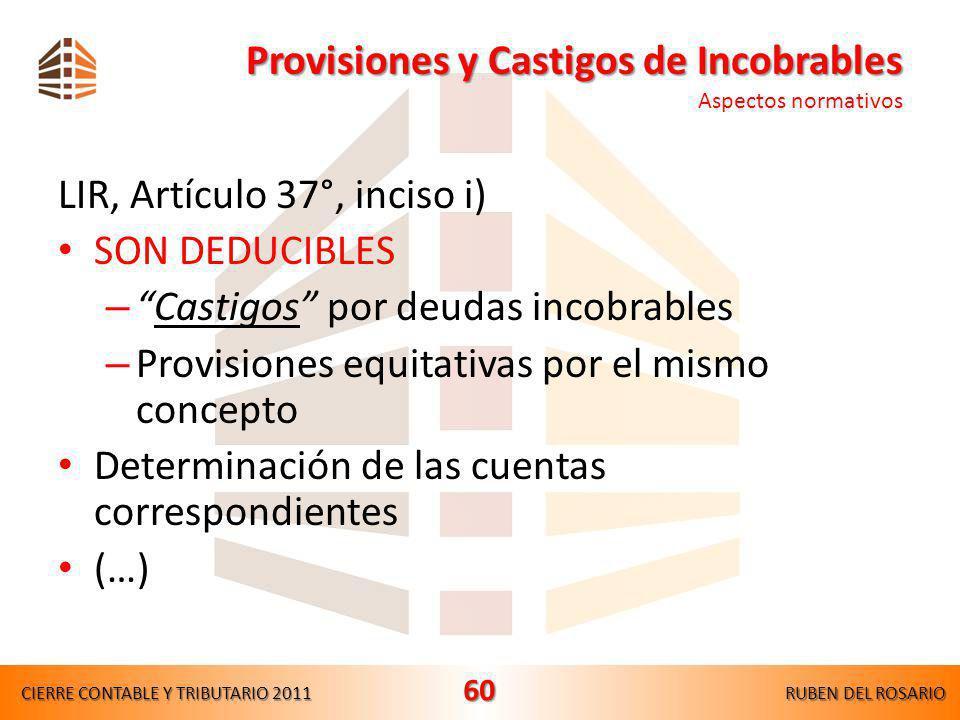 Provisiones y Castigos de Incobrables Aspectos normativos