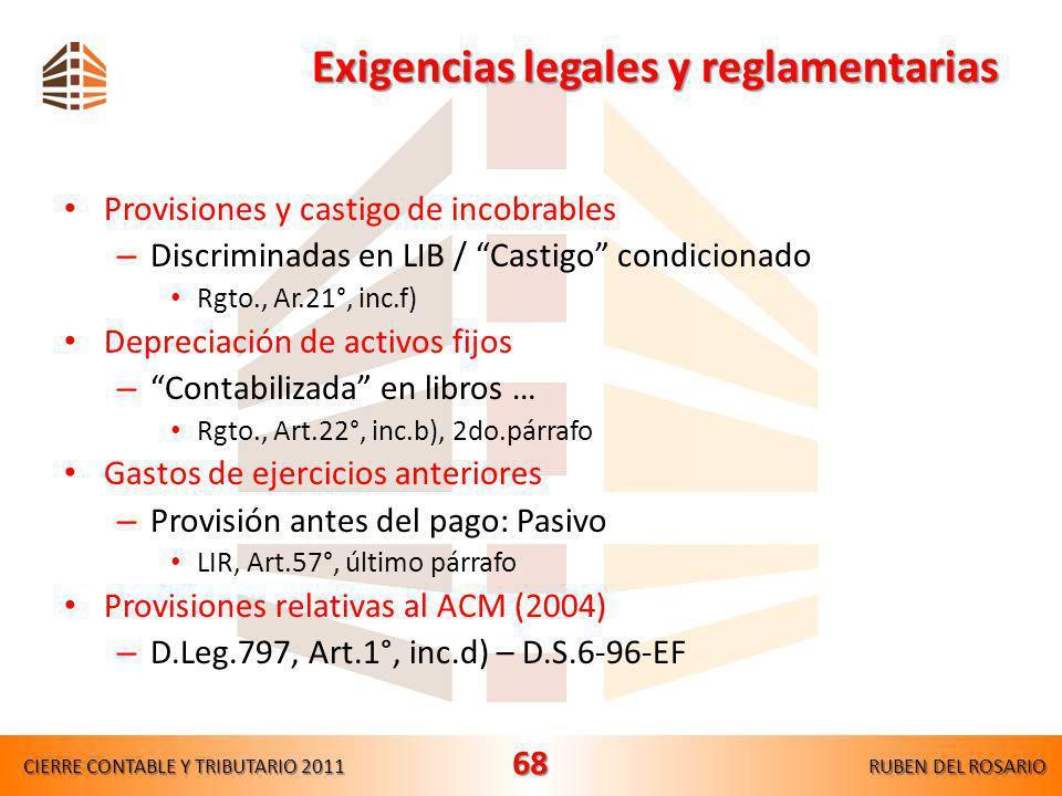 Exigencias legales y reglamentarias