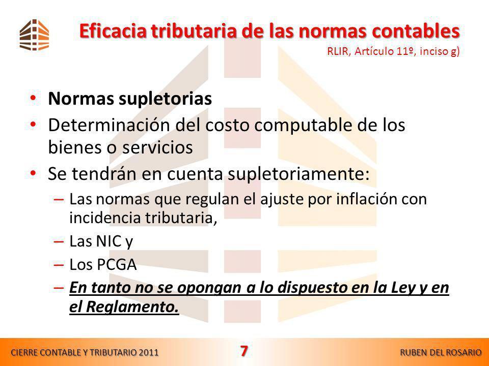 Eficacia tributaria de las normas contables RLIR, Artículo 11º, inciso g)