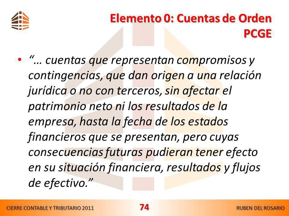 Elemento 0: Cuentas de Orden PCGE