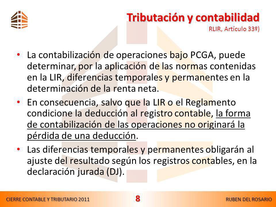 Tributación y contabilidad RLIR, Artículo 33º)
