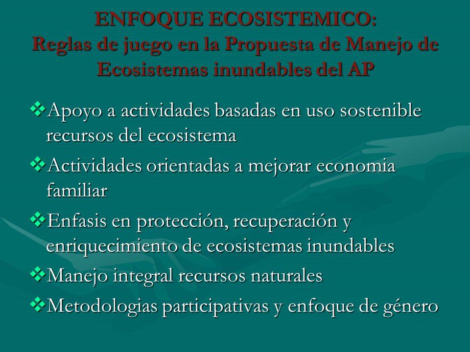 ENFOQUE ECOSISTEMICO: Reglas de juego en la Propuesta de Manejo de Ecosistemas inundables del AP