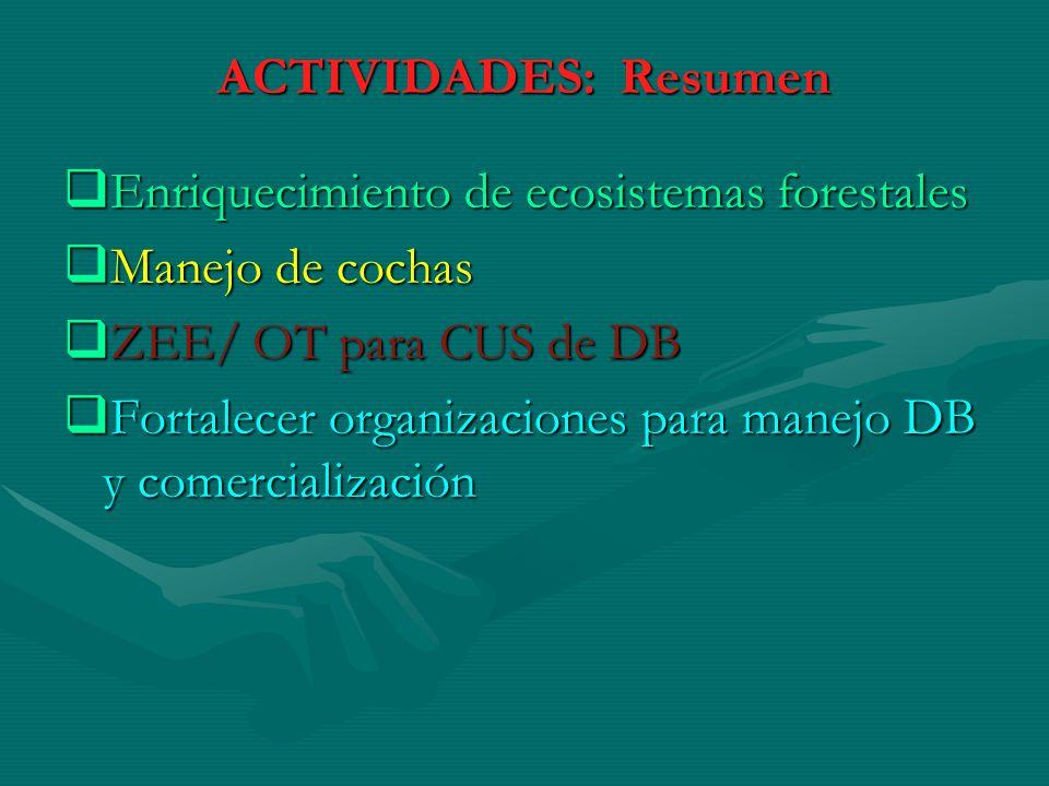 ACTIVIDADES: Resumen Enriquecimiento de ecosistemas forestales. Manejo de cochas. ZEE/ OT para CUS de DB.