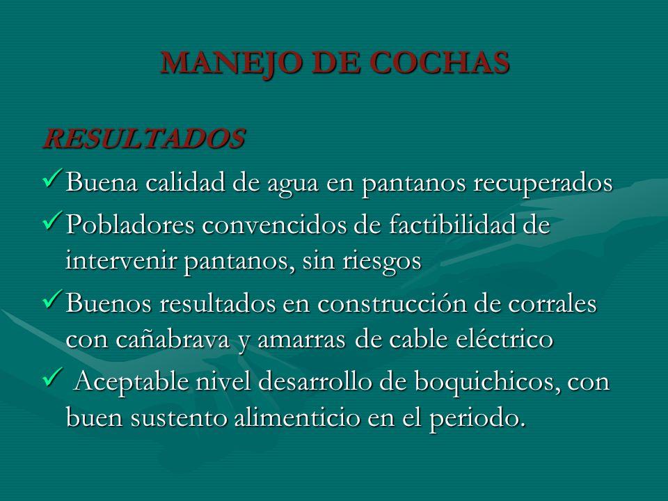 MANEJO DE COCHAS RESULTADOS