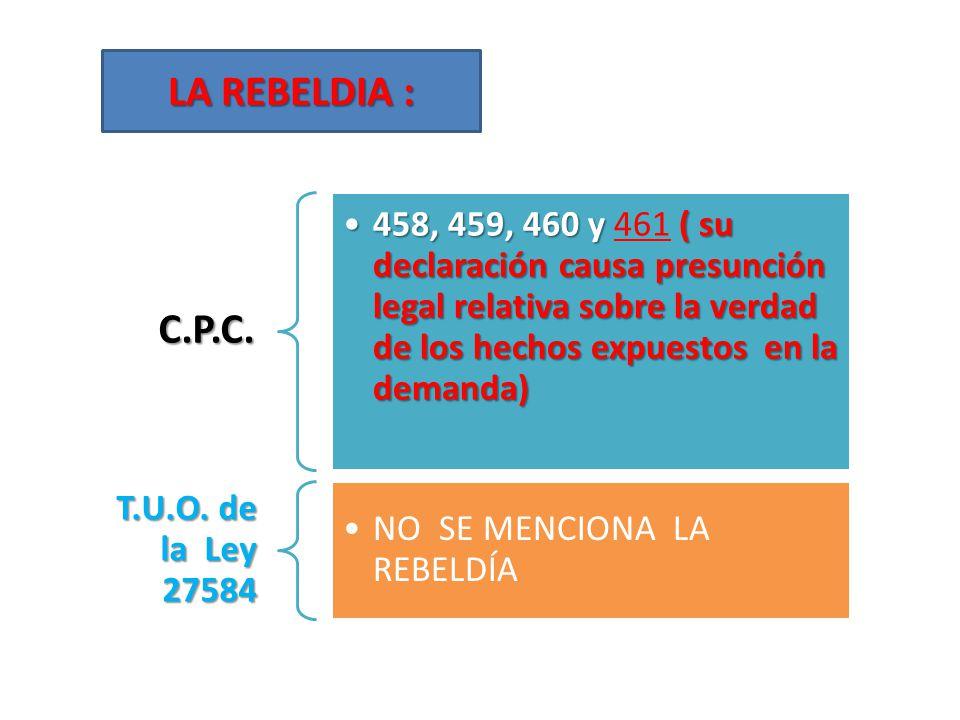 LA REBELDIA : C.P.C. 458, 459, 460 y 461 ( su declaración causa presunción legal relativa sobre la verdad de los hechos expuestos en la demanda)